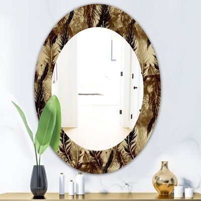 East Urban Home Feathers 15 Wall Mirror Eclectic Mirrors Round Wall Mirror Traditional Mirrors