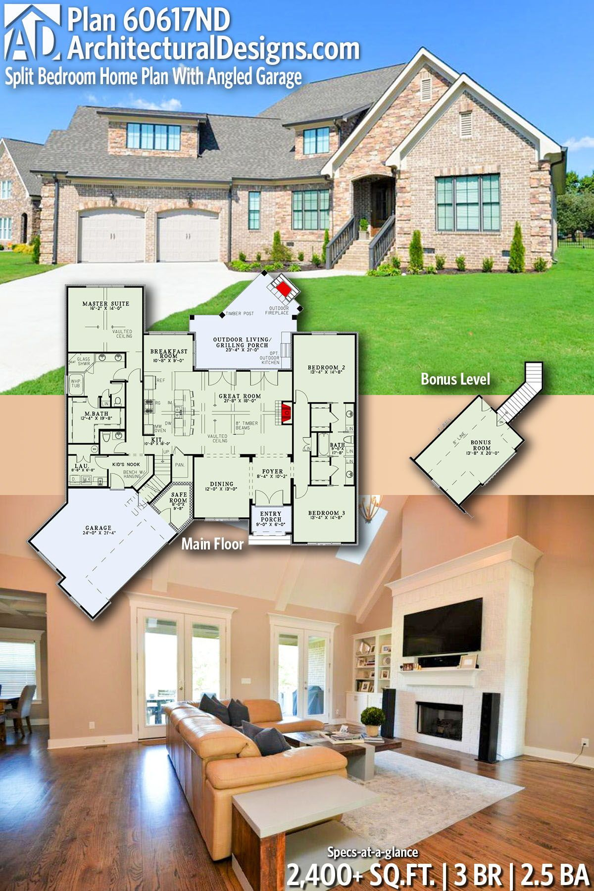 Safe Room Design: Plan 60617ND: Split Bedroom Home Plan With Angled Garage