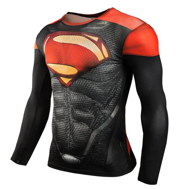 Superhero 3D Compression T-Shirts Black Supermen Tights long Sleeve Tops