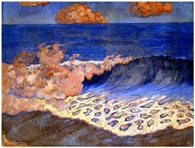 Georges Lacombe-1868-1946-Marine bleue, Effet de vague,circa 1893,peinture à l'oeuf sur toile,43x64,2 cm,Musée des Beaux-Arts de Rennes - Nabis (artistas) - Wikipedia, la enciclopedia libre