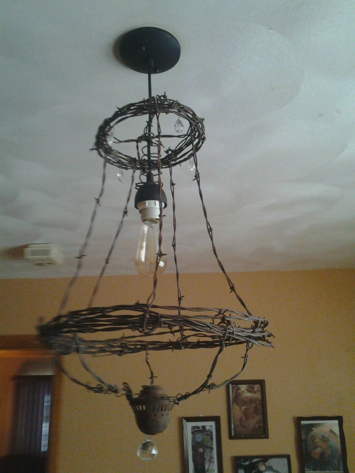 barbed wire chandelier... | Barn | Pinterest | Chandeliers, Wire art ...