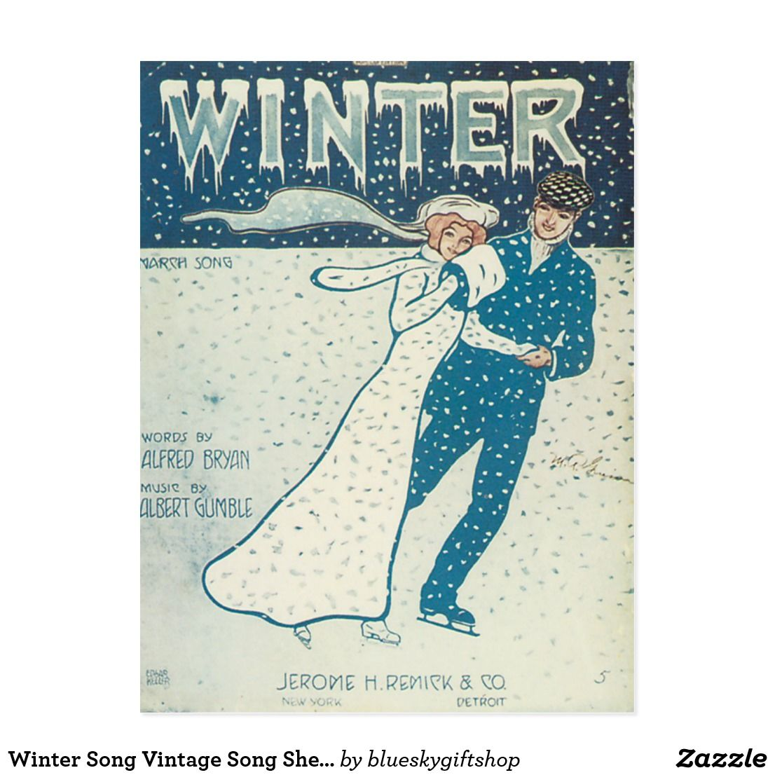 Winter Song Vintage Song Sheet Music Art Postcard | Zazzle.com #vintagesheetmusic