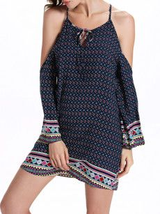 Bohemian Charming Off Shoulder Spaghetti Strap Shift-dress