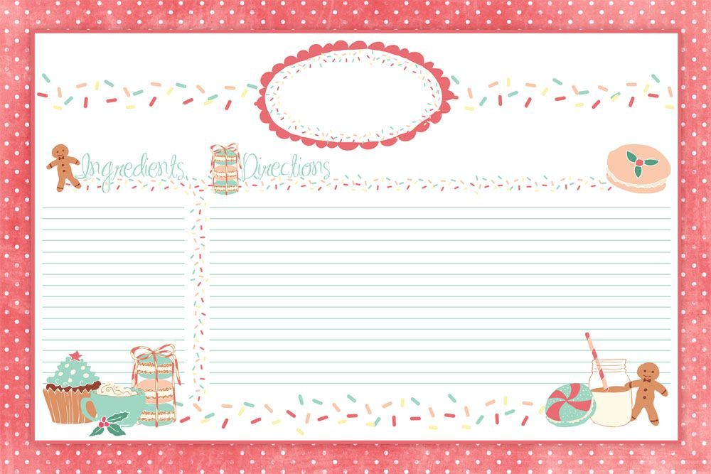 Cute Holiday Recipe Card Printable FOR YOU plus some sweet - christmas card word template