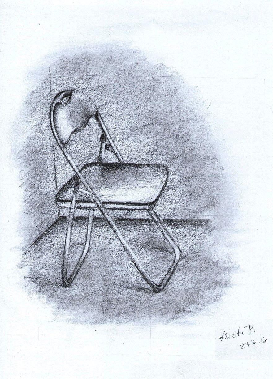 Small chair, pencil, artist Kristýna Pavluvčíková.