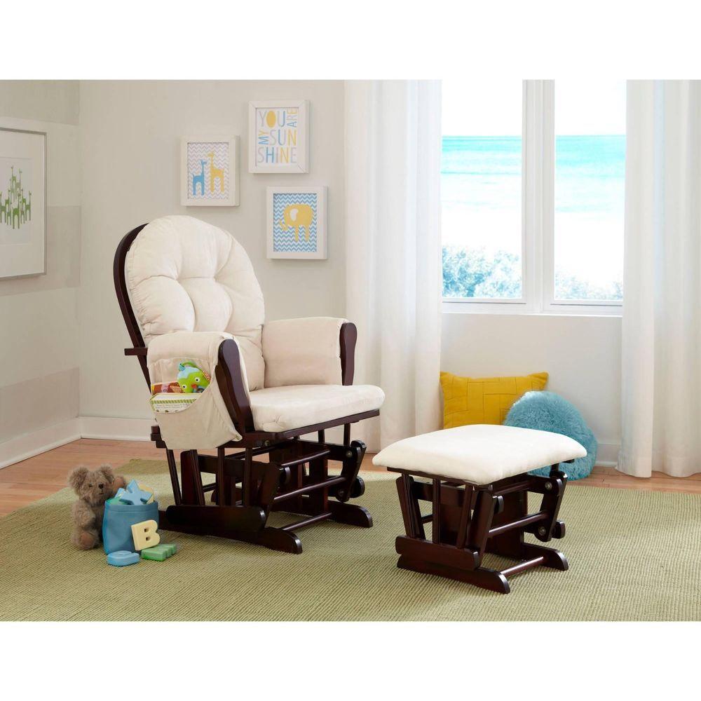 Baby Nursery Rocker Rocking Chair Ottoman Porch Upholstered Glider