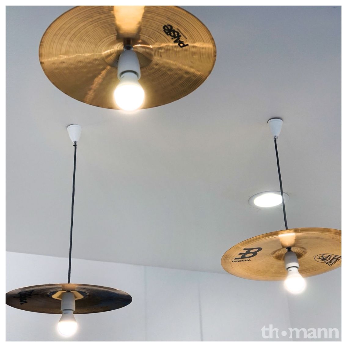 Cymbals. Lights. Music room decor, Drum room, Music
