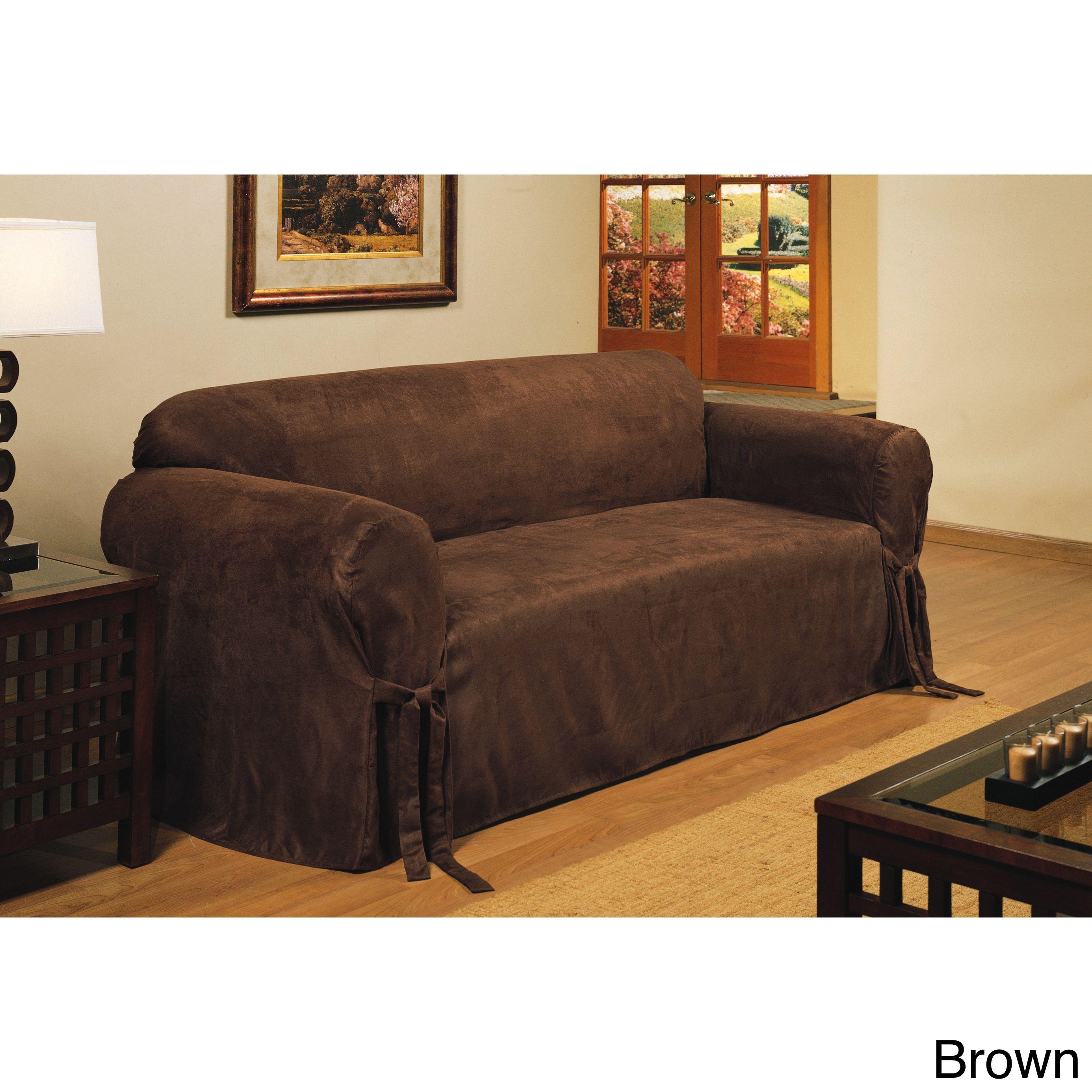 Classic Slipcovers Microfiber Velvet Sofa Slipcover Blue Solid