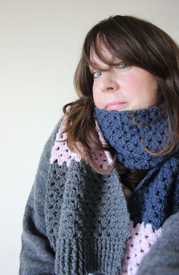 Crochet Granny Stripe Scarf. Free Pattern