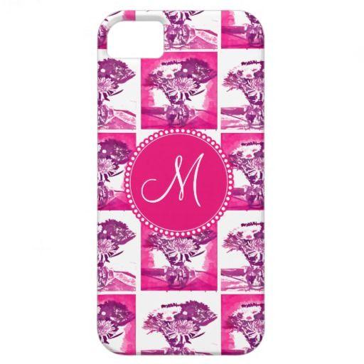 Monogram Hot Pink Purple Flower Bouquet Pop Art iPhone 5 Cases