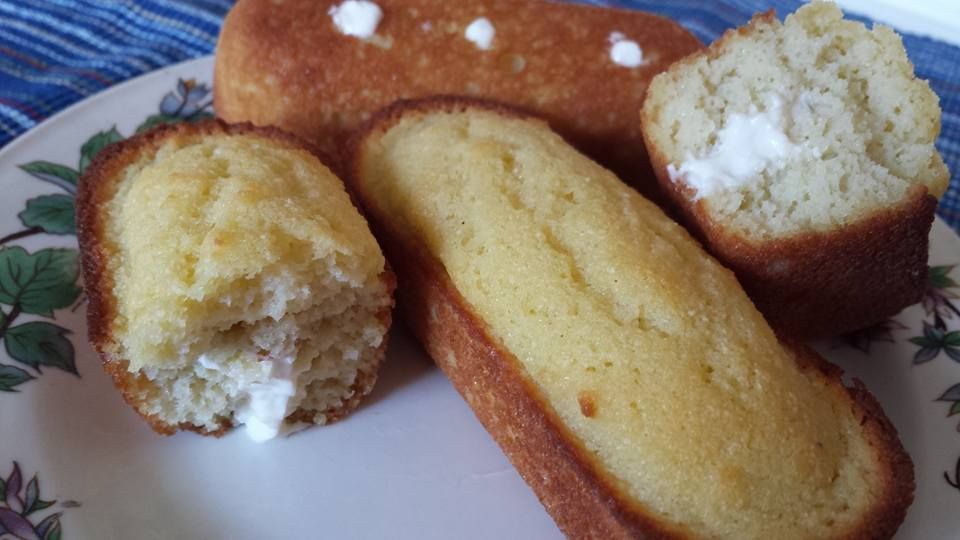 Trimkies (S)  Cake:  In a large bowl, whisk together the following:  1/2 cup coconut oil, liquid 1/3 cup Gentle Sweet 1/2 tsp high mineral sea salt 2 tsp vanilla extract 6 whole eggs 2 Tbsp almond milk     mix in 1/2 cup coconut flour and 1 tsp baking powder.    Fill 8 Twinkie holes about 3/4 of the way full. Bake at 350 degree for 25 minutes. Cool.  Filling:  4 Tbsp 1/3 less fat cream cheese, softened 3 Tbsp butter, softened  1/4 cup 0% Greek yogurt 3 Tbsp Gentle Sweet