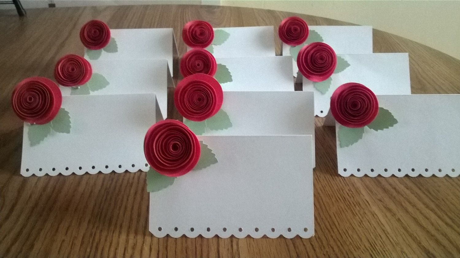 Paper Flower Red Rose Escort Cards Set Of 10 25 50 White Guest Name