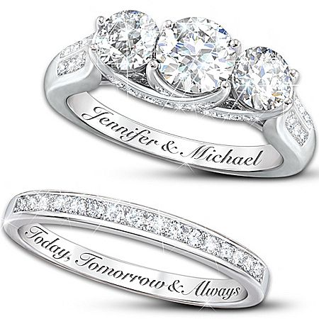 diamonesk personalized engraved engagement ring and wedding band set - Wedding Ring Engraving Ideas