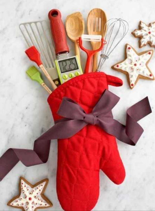 Cute wedding shower gift -- kitchen goodies in an oven mitt