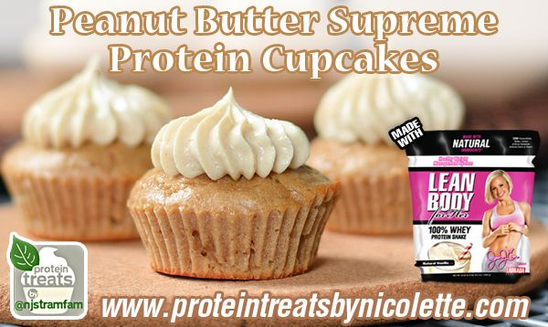 Peanut Butter Supreme Protein Cupcakes #proteincupcakes