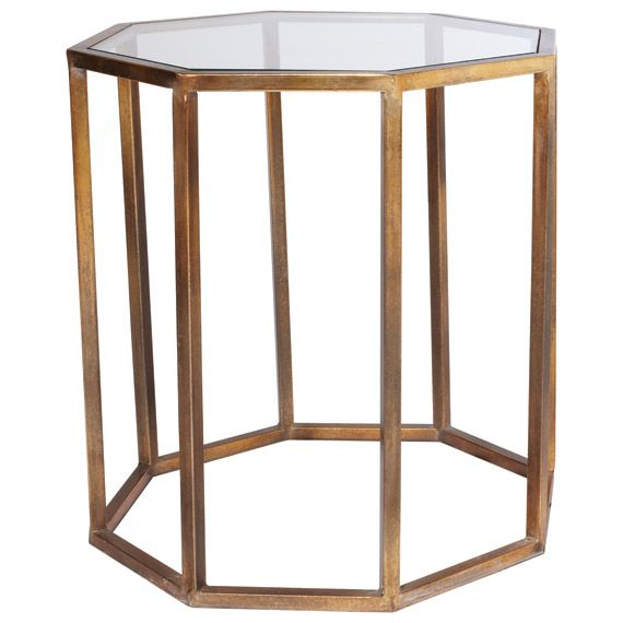 An Octagon Shaped Side Table With An Antiqued Brass Metal Frame And An  Inset Glass Top
