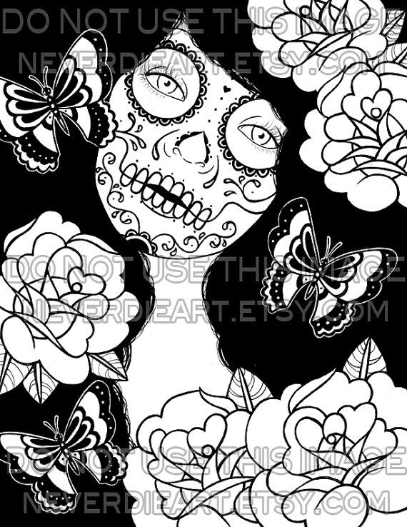 digital download print your own coloring book outline page memento day of the dead - Sugar Skull Tattoo Coloring Pages