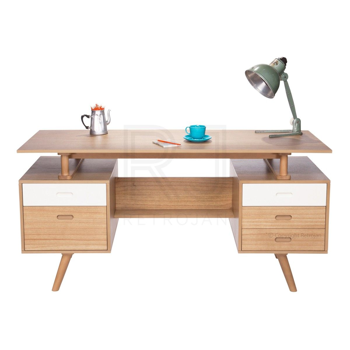 Scandinavian Style Desk josephine scandinavian style office desk - natural / white