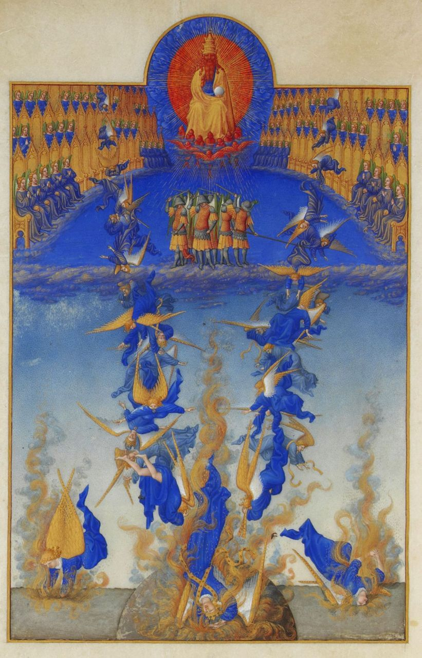 The Fall of the Rebel Angels from Les Très Riches Heures du duc de Berry, ca. 1410.