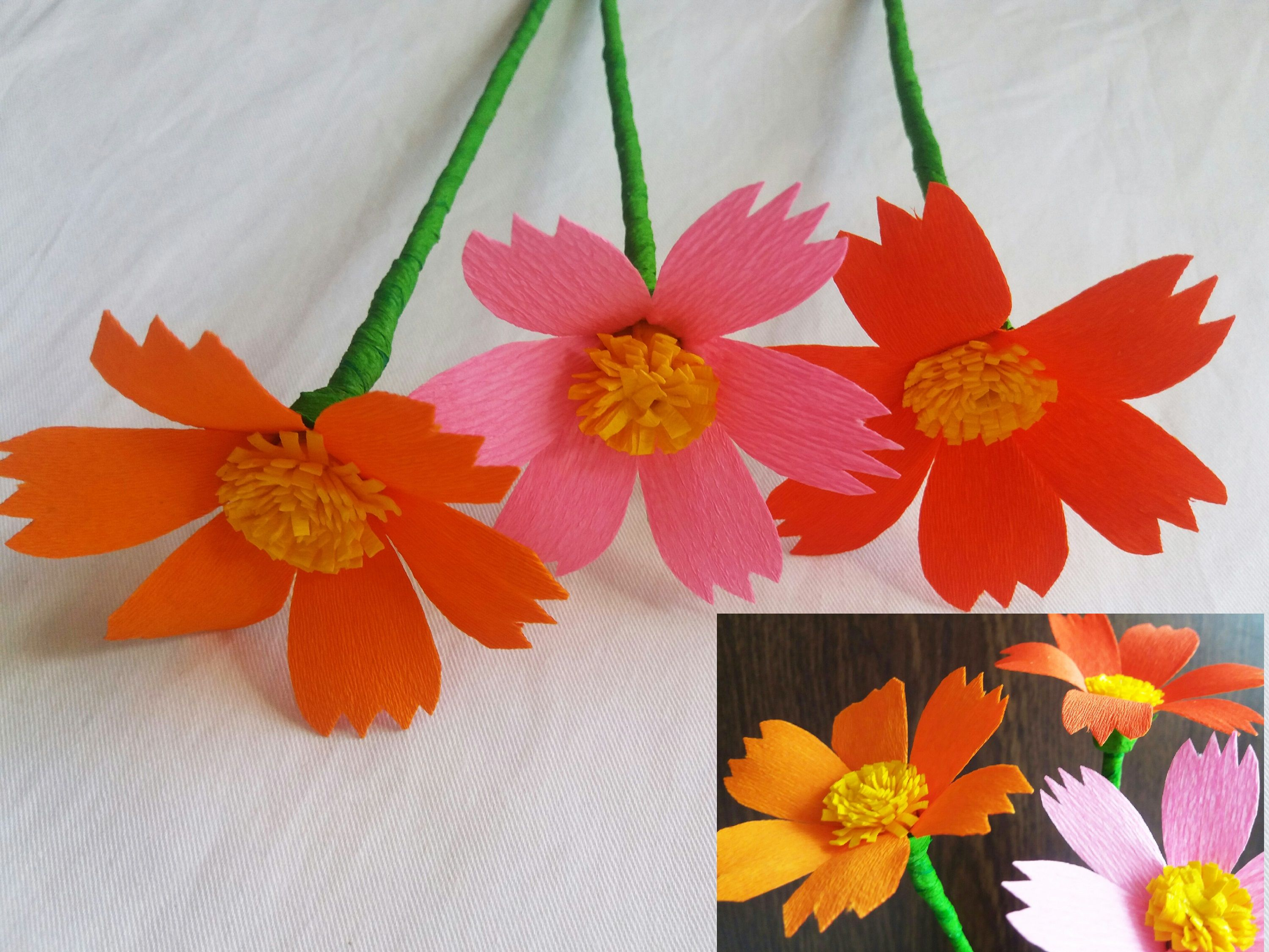 How to make beautiful flower with crepe paper making