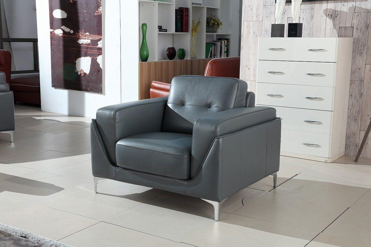Divani Casa Markham Modern Grey Bonded Leather Sofa Set | Leather ...