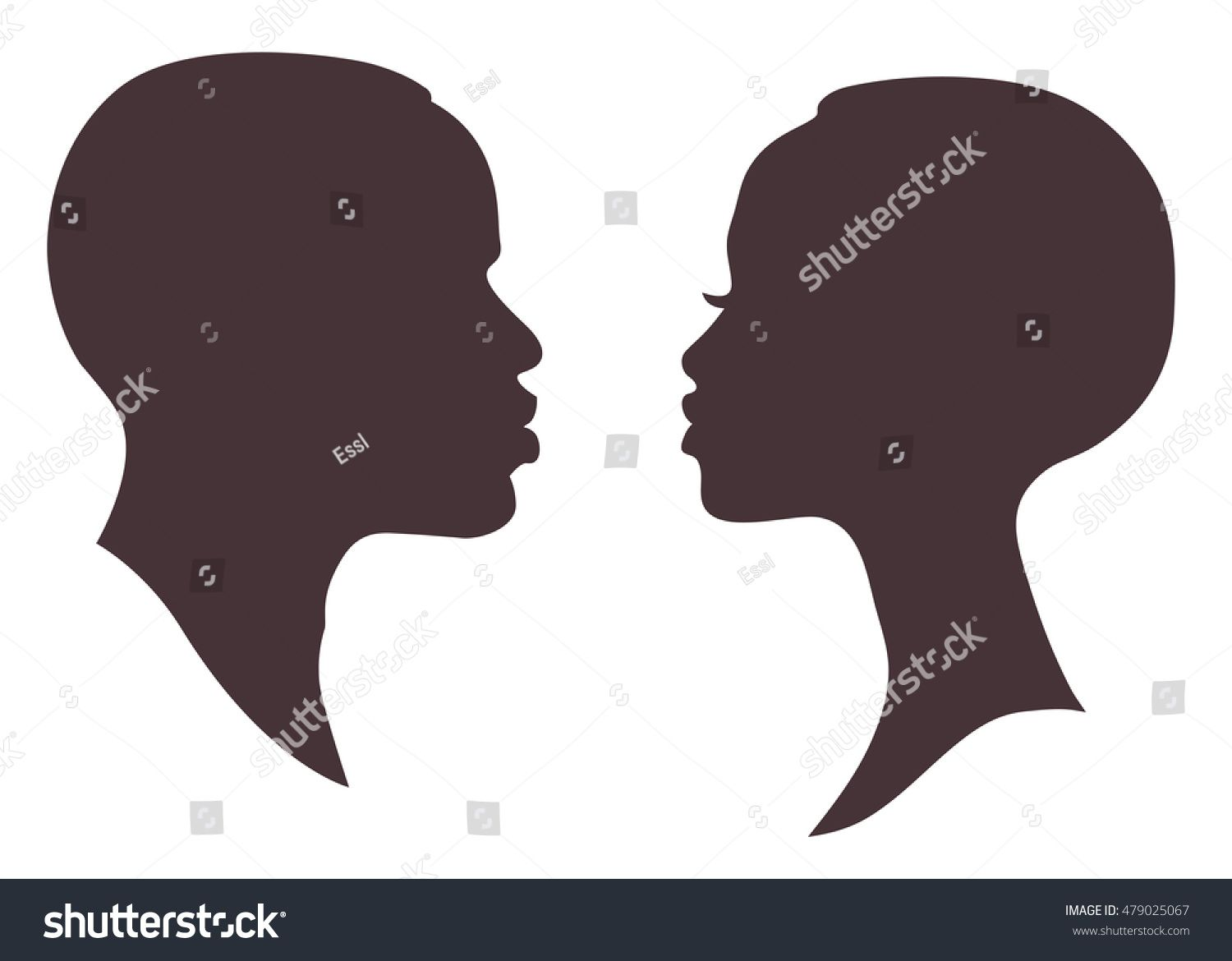 African Woman And Man Face Silhouette Young Attractive Modern Female Brutal Male Profile Sign Man And Woman Silhouette Black Woman Silhouette Silhouette Face