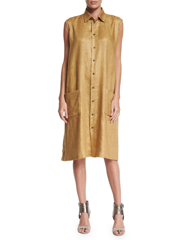 4eef30a8865a Sleeveless Button-Front Linen Shirtdress, Gold, Women's, Size: 1/10-12 -  eskandar