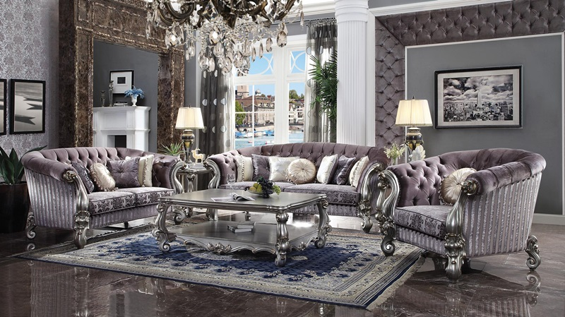 Versailles Formal Living Room Set Purple Velvet Antique Platinum