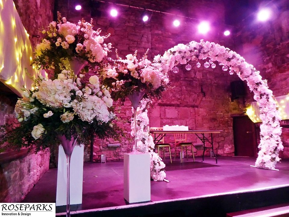 One of our new range of floral arches for hire wedding
