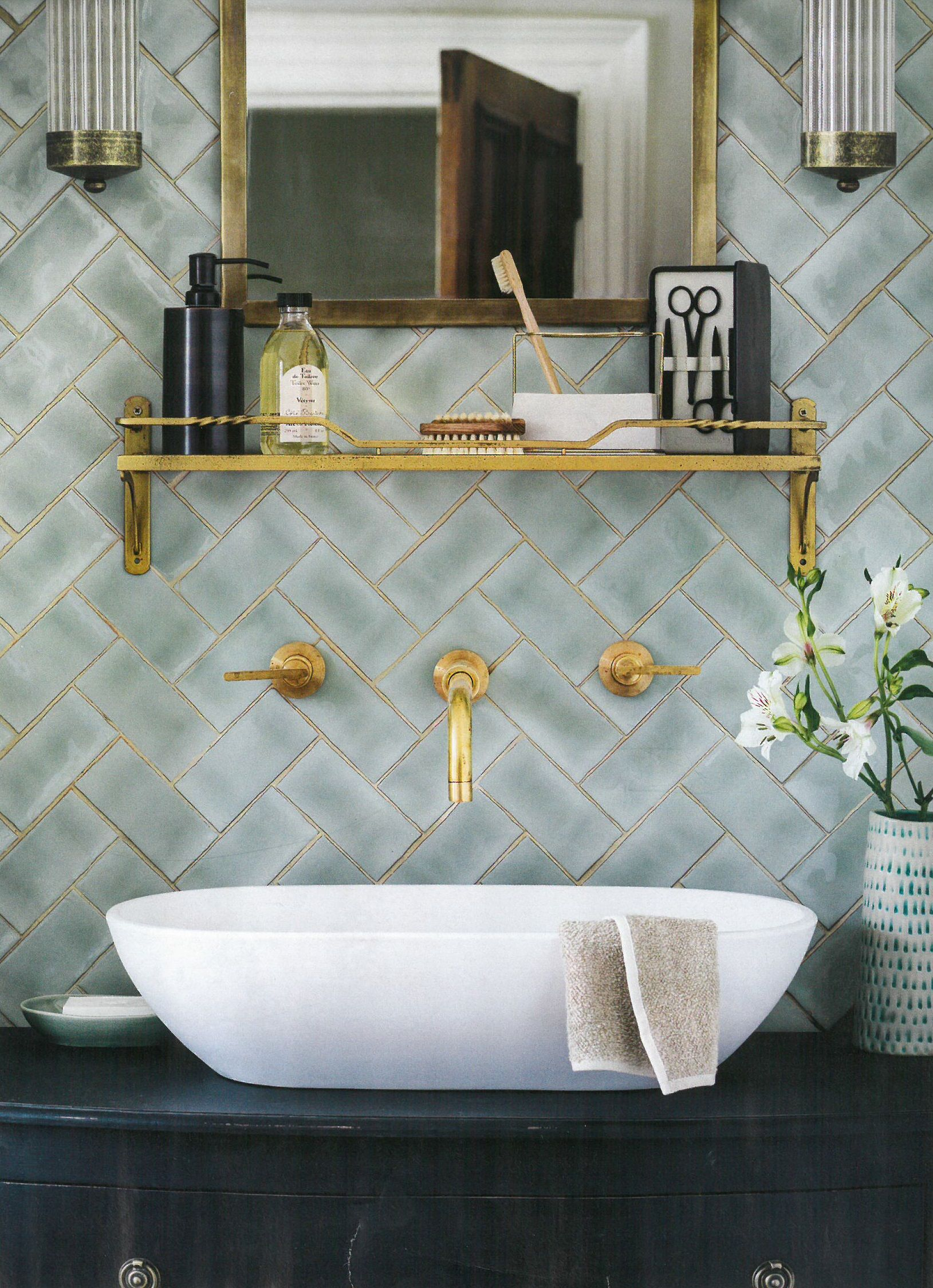 Winchester mint brick/subway tiles are shown here in a contemporary ...