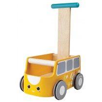 PlanToys / Gåvogn i gul med grå hjul