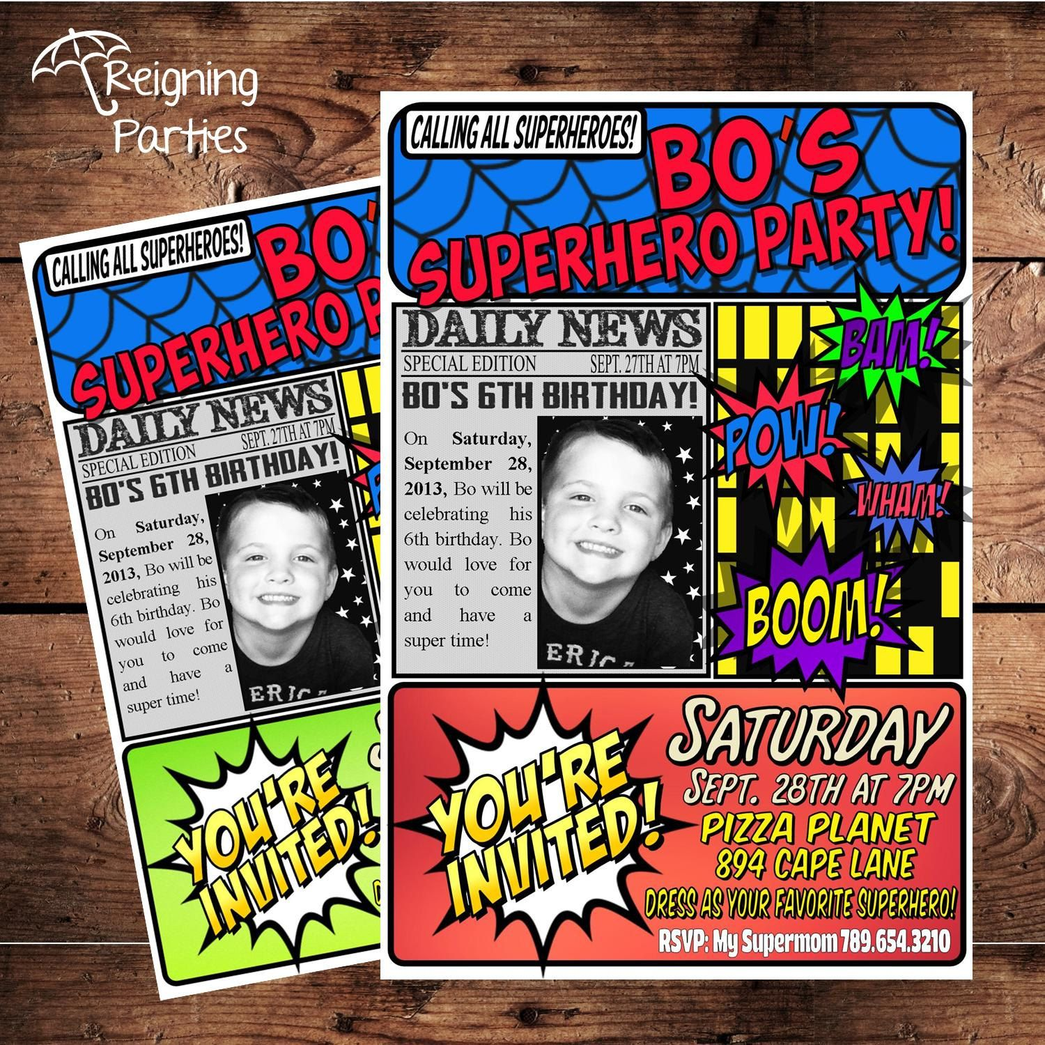 Super Hero Birthday Party Invitation Save the by ReigningParties ...