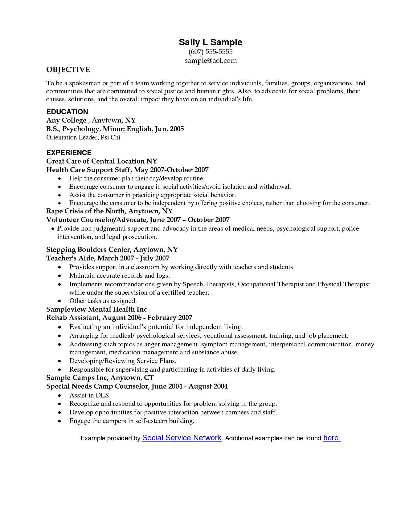 Social Service professional sample resume Google Search