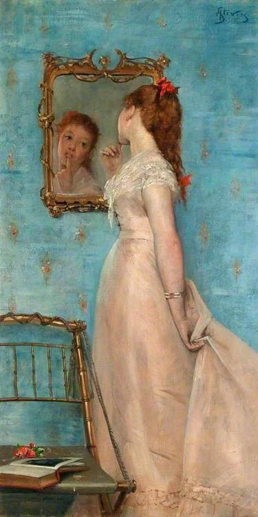 painting of woman looking in mirror
