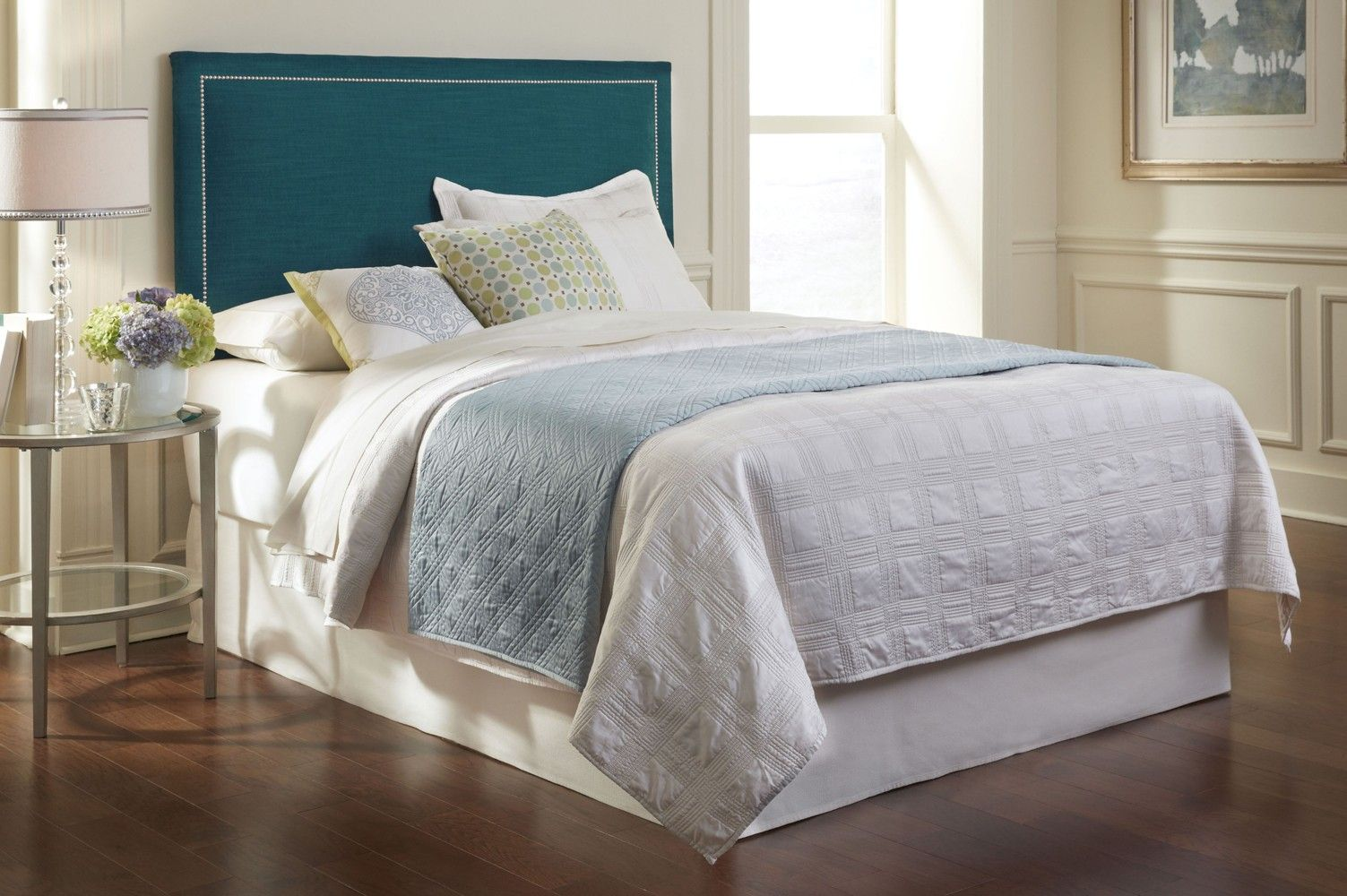 Clermont upholstered headboard in peacock by fashion bed