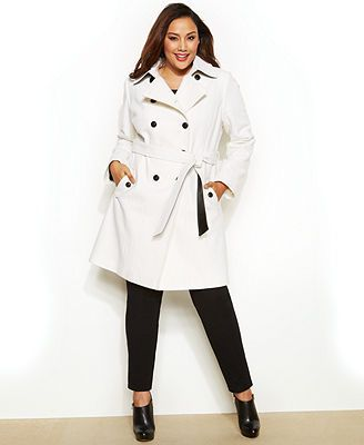 DKNY Plus Size Double-Breasted Faux-Leather-Trim Trench Coat