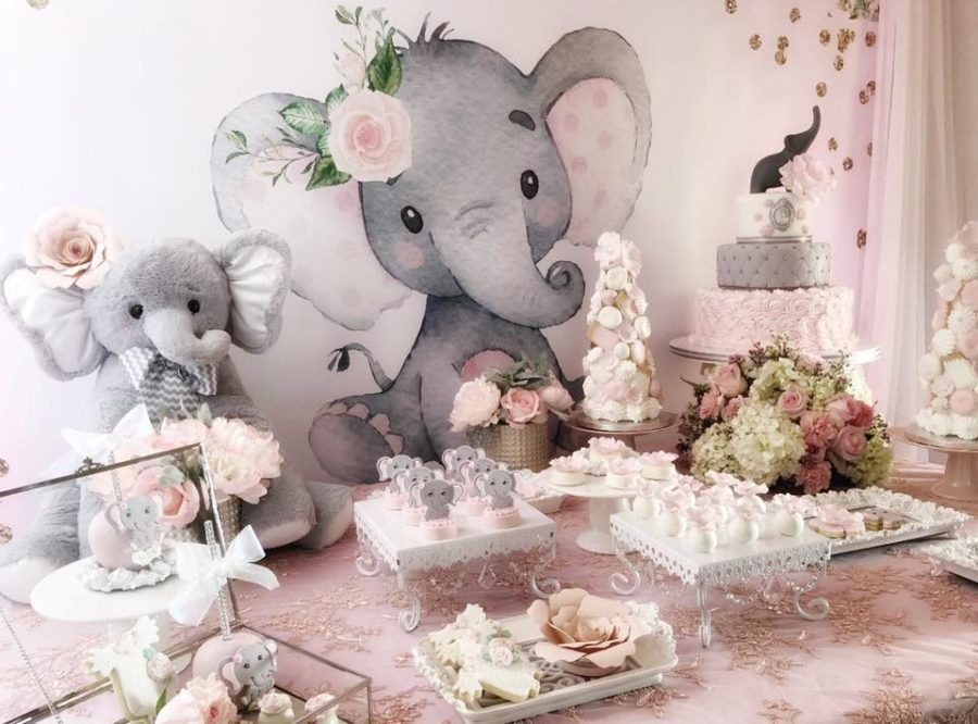 Pink And Gray Elephant Baby Shower | Girl baby shower decorations ...