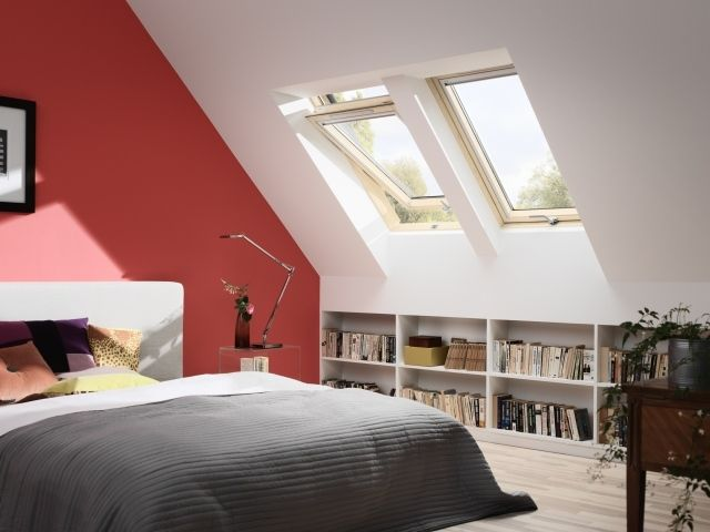 Schlafzimmer Dachschräge Streichen Ideen Ziegelrot Weiß