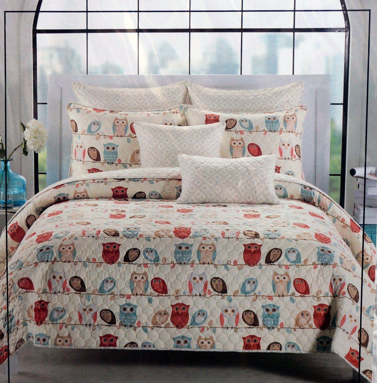 Amazon Com Cynthia Rowley Owls Twin Quilt Pillow Sham Set Owl Bedding