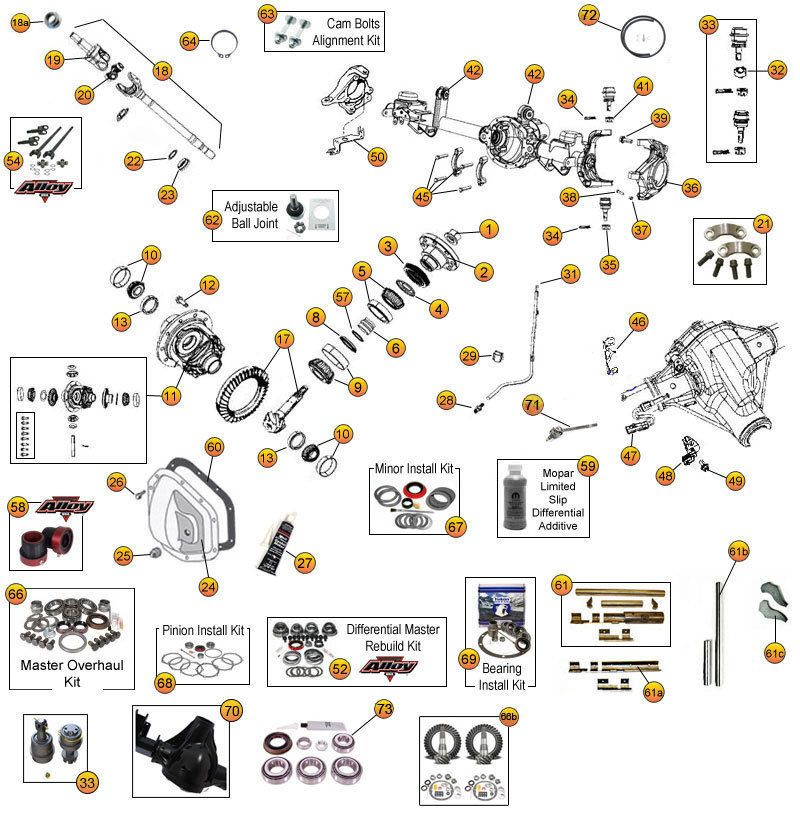 Interactive Diagram - Jeep Wrangler JK Axle Parts | Dana Model 35 ...