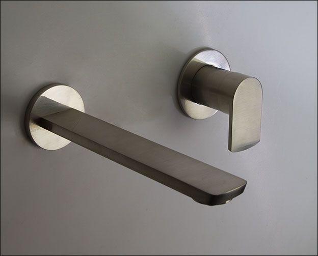 Photo of Wall-mounted brushed nickel basin mixer #Bathroom Fixtures Bronze #Bathroom Fixt …