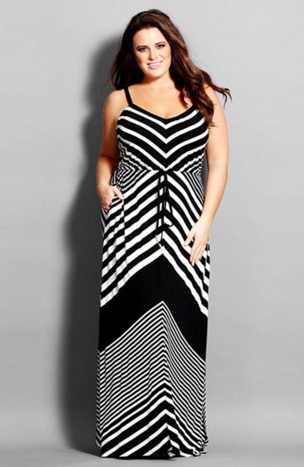 Plus Size Womens City Chic Chevron Stripe Jersey Maxi Dress My
