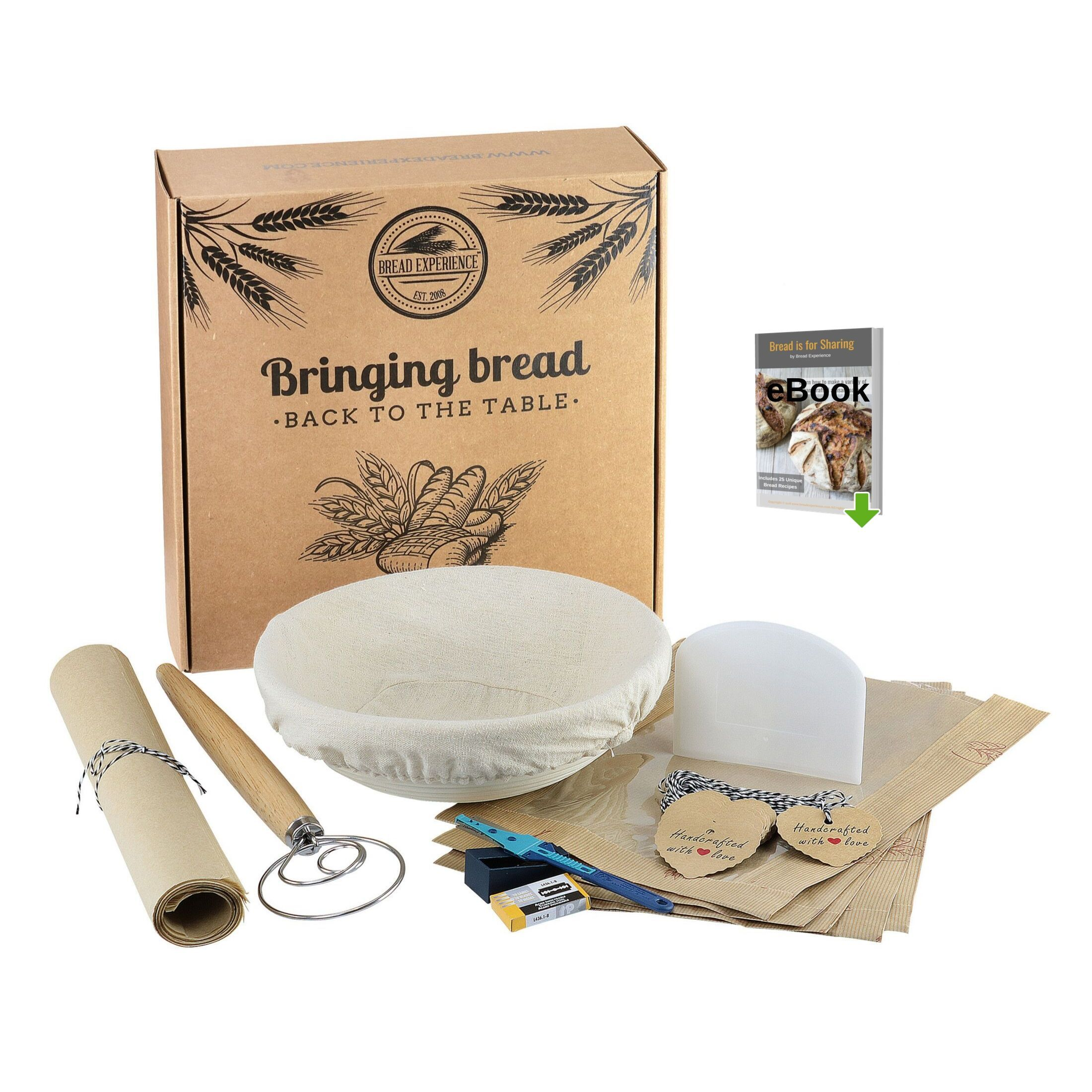 Artisan Home Bread Making Kit Bread Sharing Box Bread Experience How To Make Bread Proofing Baskets Baking Kit