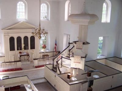 The celebrated three-tiered pulpit of Aquia Episcopal Church. Stafford County, Virginia, USA