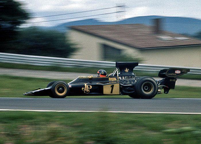 World Champion Emerson Fittipaldi in Lotus 72