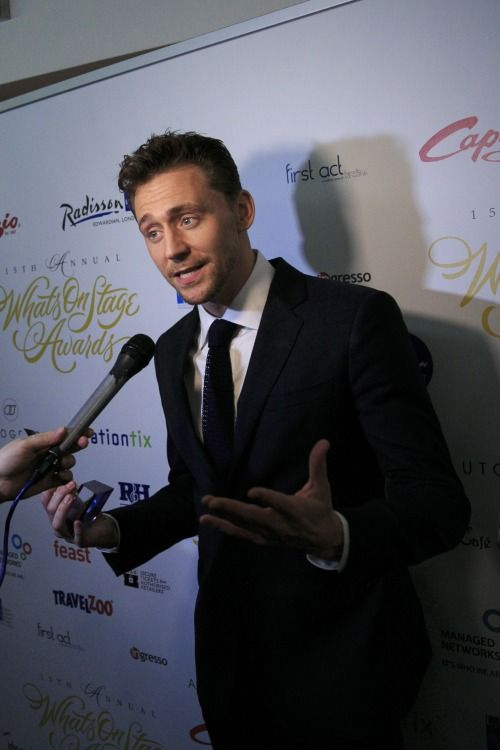 Tom Hiddleston with the award for Best Play Revival #Coriolanus