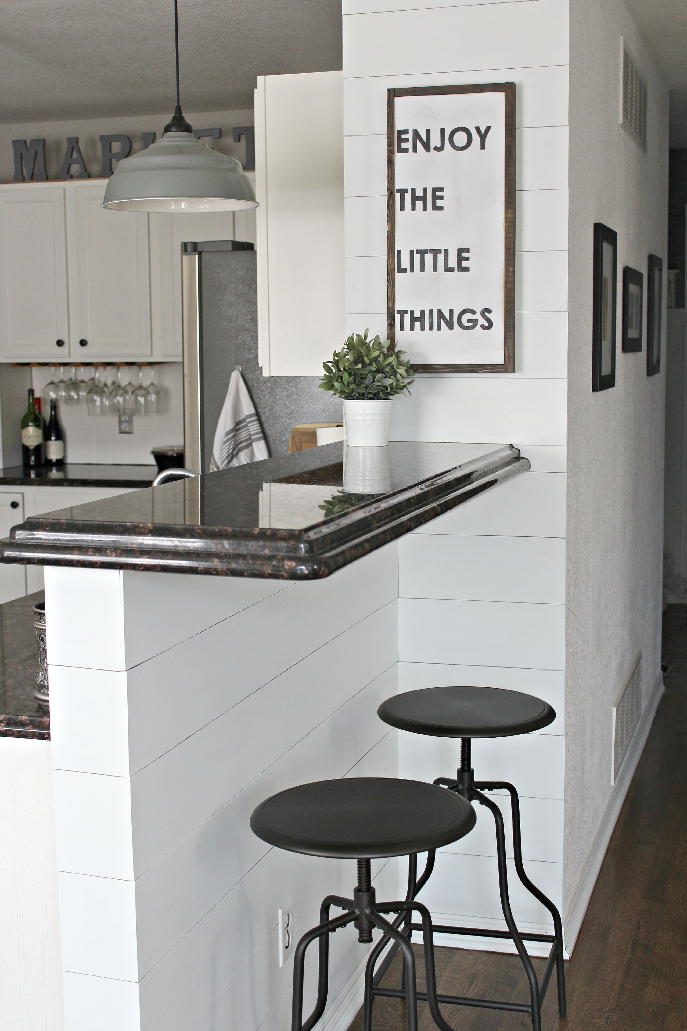 shiplap wall kitchen. faux shiplap walls in kitchen bar area for a farmhouse-cottage look. wall