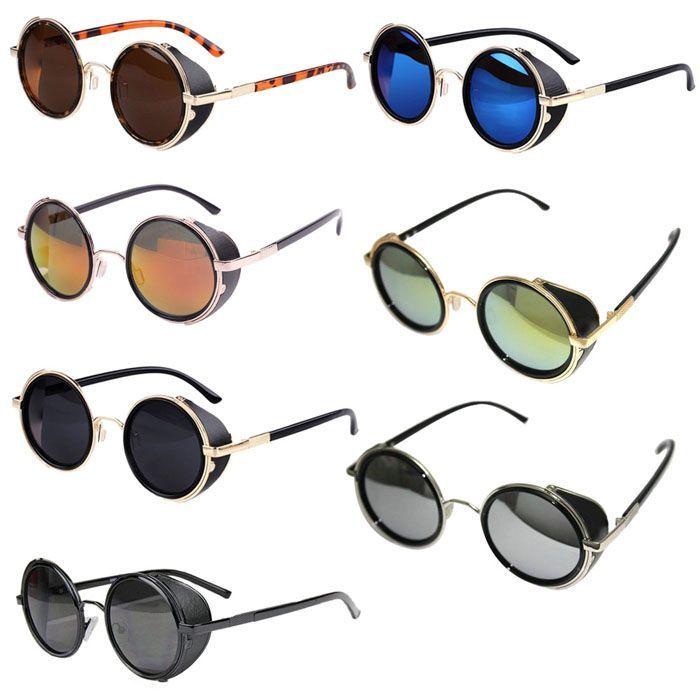 e5d4db8670 Durable Fashion lunette de soleil Unisex Men Women Mirror Lens Round Glasses  Cyber Goggles Steampunk Sunglasses