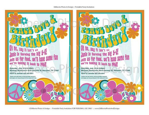 Invitations PRINTABLE Party Invitation Hippie 1960s by – Beatles Party Invitations