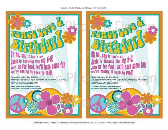 Invitations?? PRINTABLE Party Invitation Hippie 1960s by - fresh invitation 60th birthday party templates
